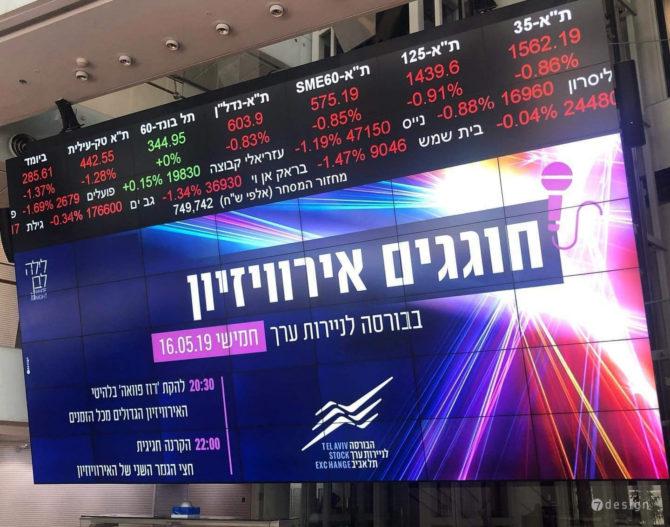 עיצוב מסך ראשי בלובי הבורסה לניירות ערך