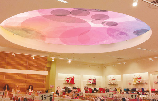 עיצוב גרפי לתקרה מוארת